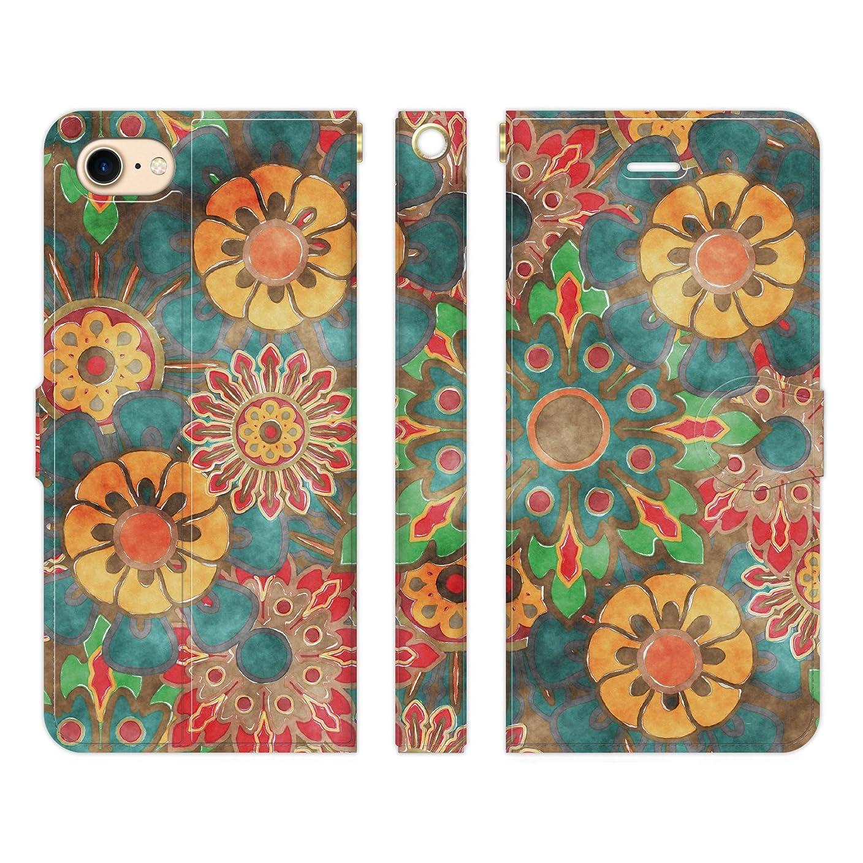 アトラスギャロップ組み込むRuuu iPhone8 iPhone7 手帳型 スマホ ケース カバー エスニックフラワー type C 花柄 レトロ エスニック 雑貨 グッズ ギフト レディース おしゃれ かわいい きれい