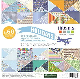 Artemio 11002279 Set de 180 Papier Scrapbooking, Multicolore, 30,5 x 2,3 x 30,5 cm
