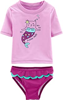 Carters Infant Girls Pink /& White Stripe Hippo Rash Guard Baby Swimming Suit