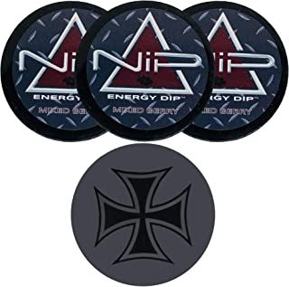 Nip Energy Dip Mixed Berry 3 Cans with DC Crafts Nation Skin Can Cover - Iron Cross