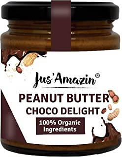 Jus Amazin Creamy Organic Peanut Butter – Choco Delight (200g) | 26% Protein | Plant-Based Nutrition | Zero Chemicals | Ve...