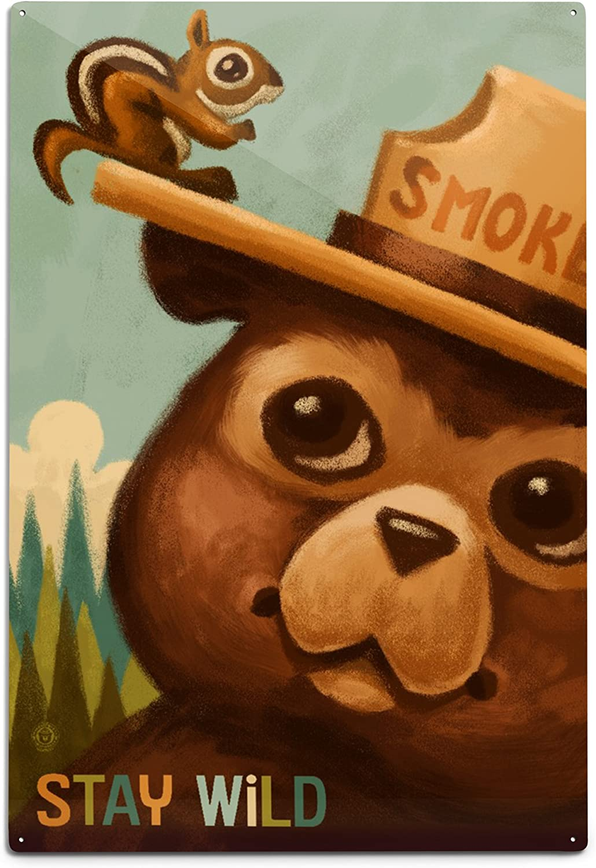Lantern Press Stay Wild Smokey Max 52% OFF Bear 79665 and Squirrel A 12x18 Finally popular brand