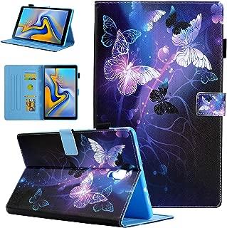 Alugs Samsung Galaxy Tab A 10.5 Case, Full-Body Multi-Angle Viewing Protective PU Leather Folio Cover for Samsung Galaxy Tab A 10.5 2018 Model SM-T590 / T595 / T597, Purple Butterfly