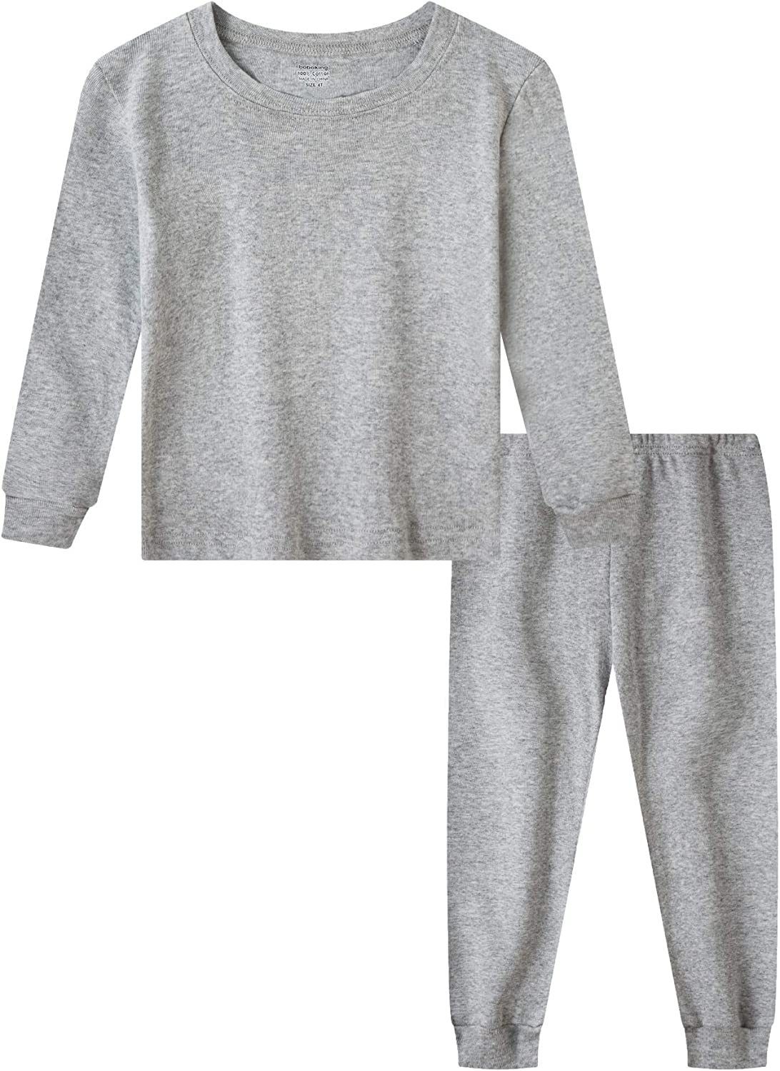 Boboking Boys and Girls Solid Color Pajamas 100% Cotton Long Sleeve Pjs Toddler Clothes Kids Sleepwear
