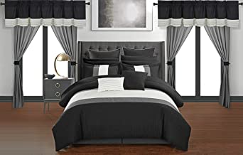 Chic Home Vixen 24 Piece Comforter Set Color Block Quilted Embroidered Complete Bag Bedding, King, Black