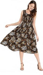 فستان هاواي للنساء بدون أكمام مرن في ورقة الشجر