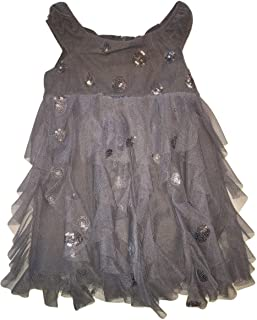 Biscotti Baby Girls Sleeveless Sequin Embellished Dots Ruffle Dress, Charcoal Gray, 12 Months (12M)