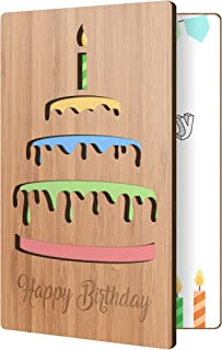 Happy Birthday Card: Real Bamboo Wood Greeting Card With Birthday Cake Design, Premium Handmade Wooden Card Perfect Gift For Sending Birthday Wishes