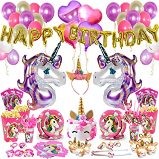 Unicorn Birthday Party Supplies Set - 197 Pcs - Unicorn Headband - Unicorn Party Favors - Unicorn Horn Cake Topper - Unicorn Party Decorations - Unicorn Balloons - Complete Pink Unicorn Tableware Set and More