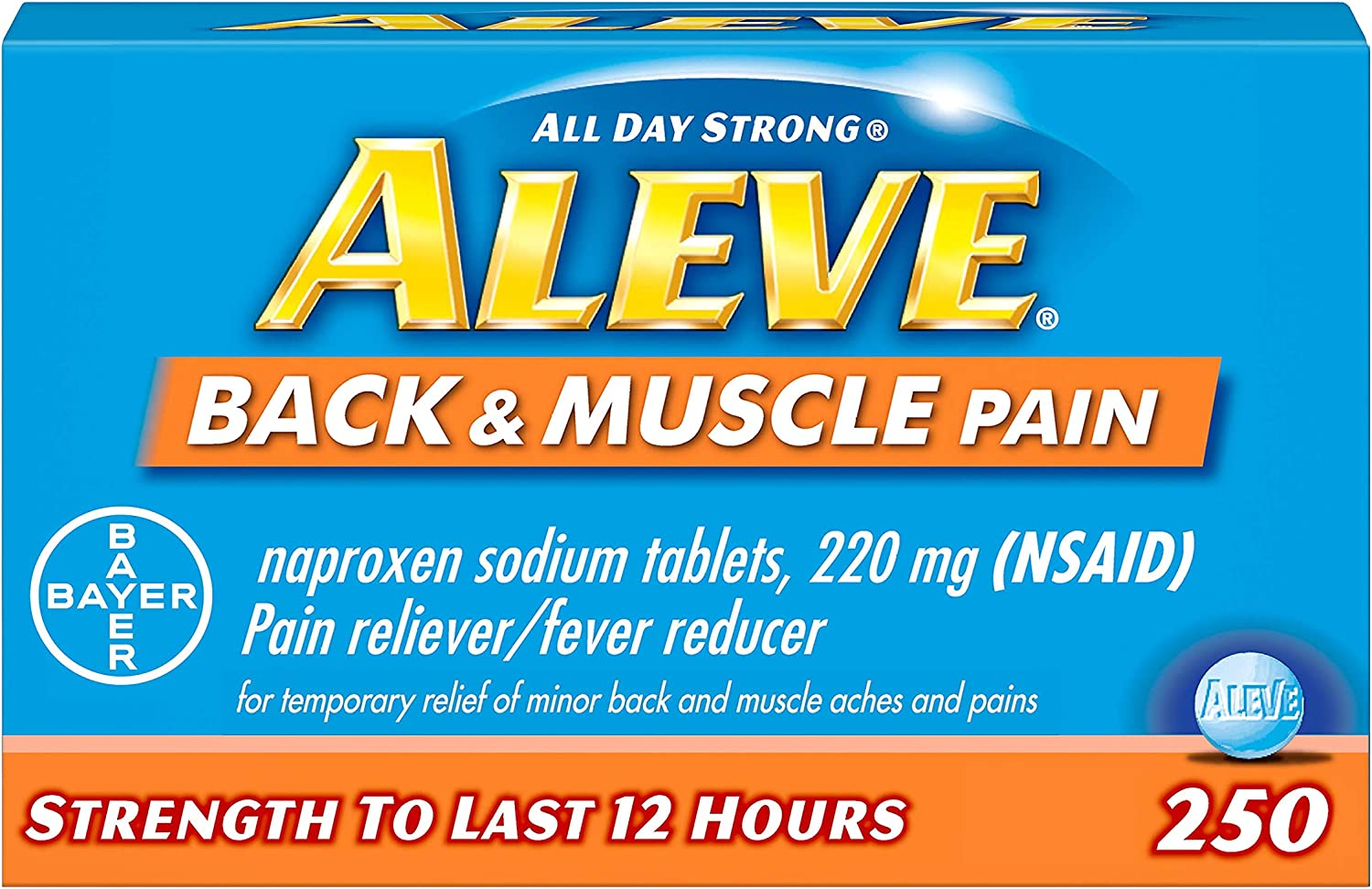 Aleve Back and Muscle Pain Tablets, Fast Acting All Day Targeted Relief for Headache, Muscle, and Back Pain, Naproxen Sodium Capsules, 220 mg, 250 Count : Health & Household