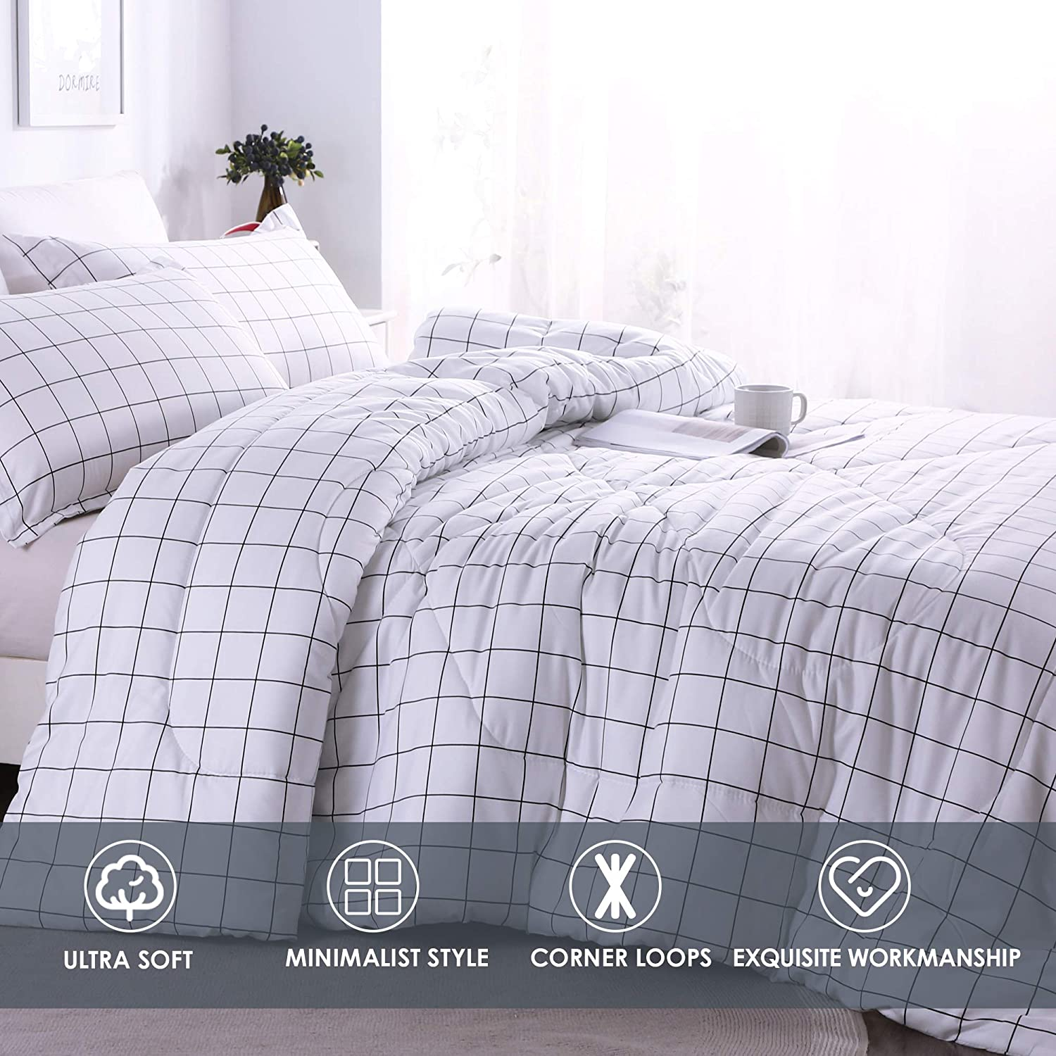 Andency Black White Grey Plaid Comforter Sets Twin 2 Pieces Soft Microfiber Buffalo Check Down Alternative Comforter Set 1 Gingham Comforter and 1 Pillowcase 66x90 Inch