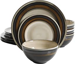 Gibson Elite 116868.12R Everston 12 Piece Reactive Glaze Dinnerware Set, Brown and Cream