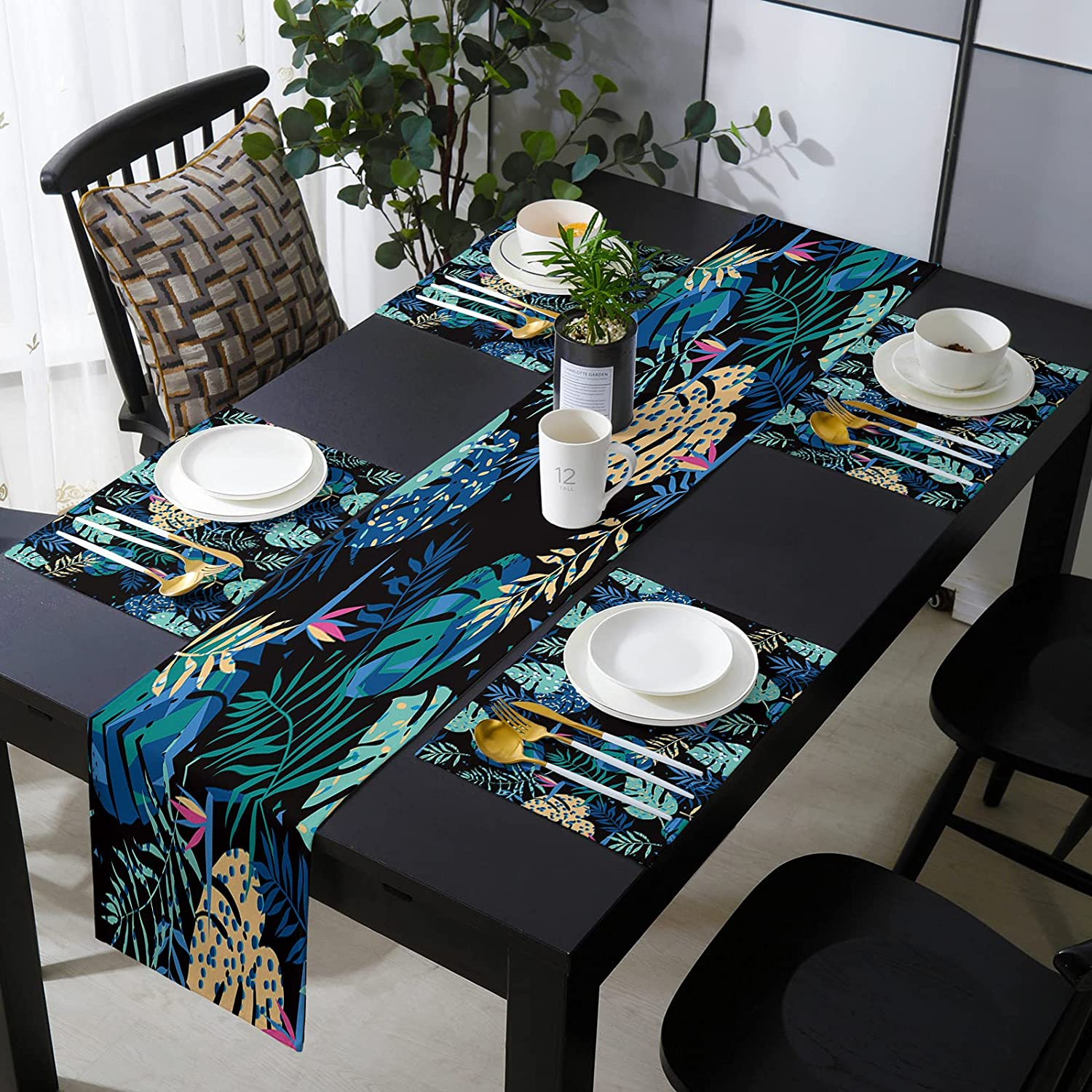 KAROLA Table Safety and half trust Runner Placemats Set Tropical Plant 6 of Leaves
