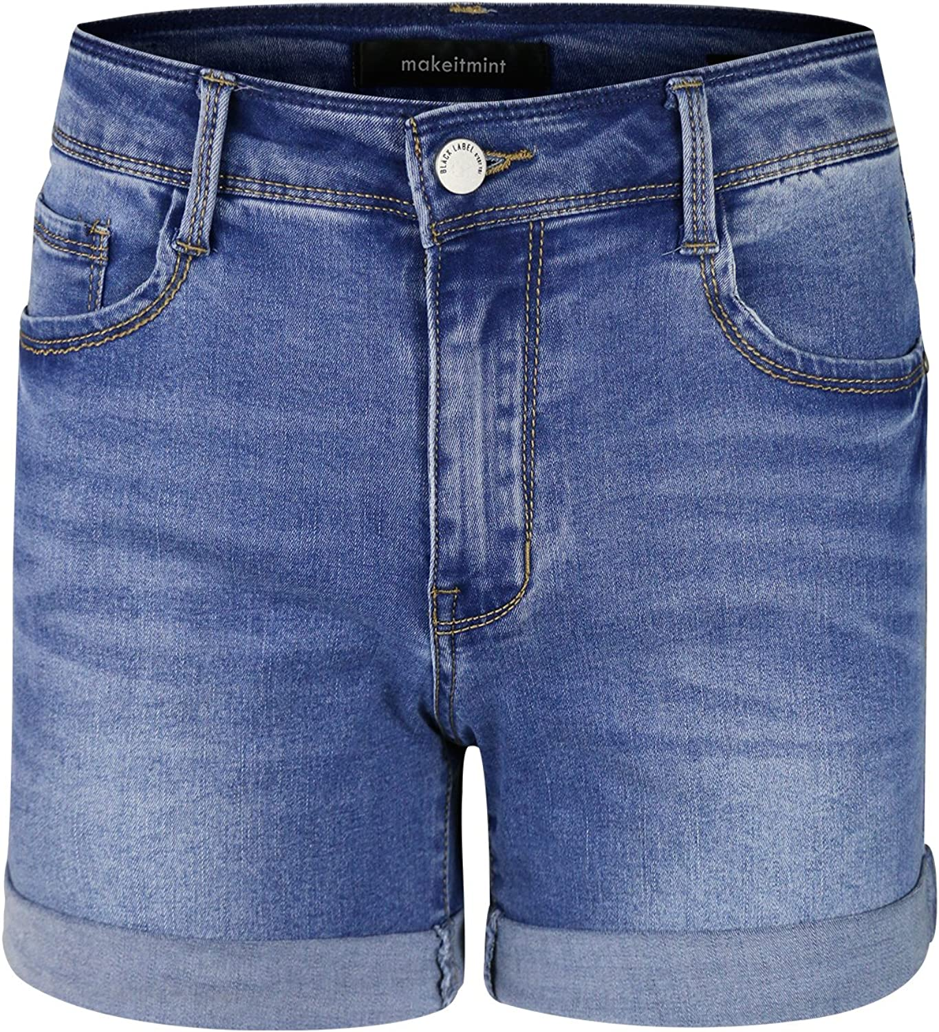 Makeitmint Women's MidRise Washed Double Fold Denim Jean Pant Shorts w Pockets