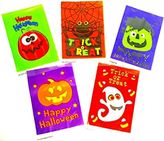 Halloween Themed Cello Zipper Close Treat or Party Favor Bag - Assorted Styles - 120 Bags Total