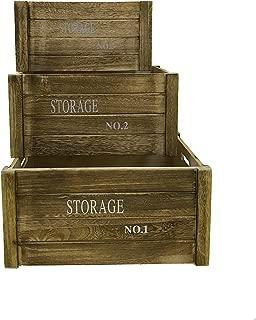 Rebecca Mobili Juego3 pz Caja de Madera Vintage, Cajas Frutas Ideas decoupage salón Cocina, marrón - Medidas: 20 x 41 x 31 cm (AxANxF) - Art. RE4475