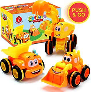 Toys for a 2 Year Old Boy - 3 Friction Powered Trucks for 2+ Year Old Boys, Push & Go Cars Cartoon Construction Vehicle Set - Best Toddler Boys Toys & Toy Trucks, Play Pull Back Car, Idea