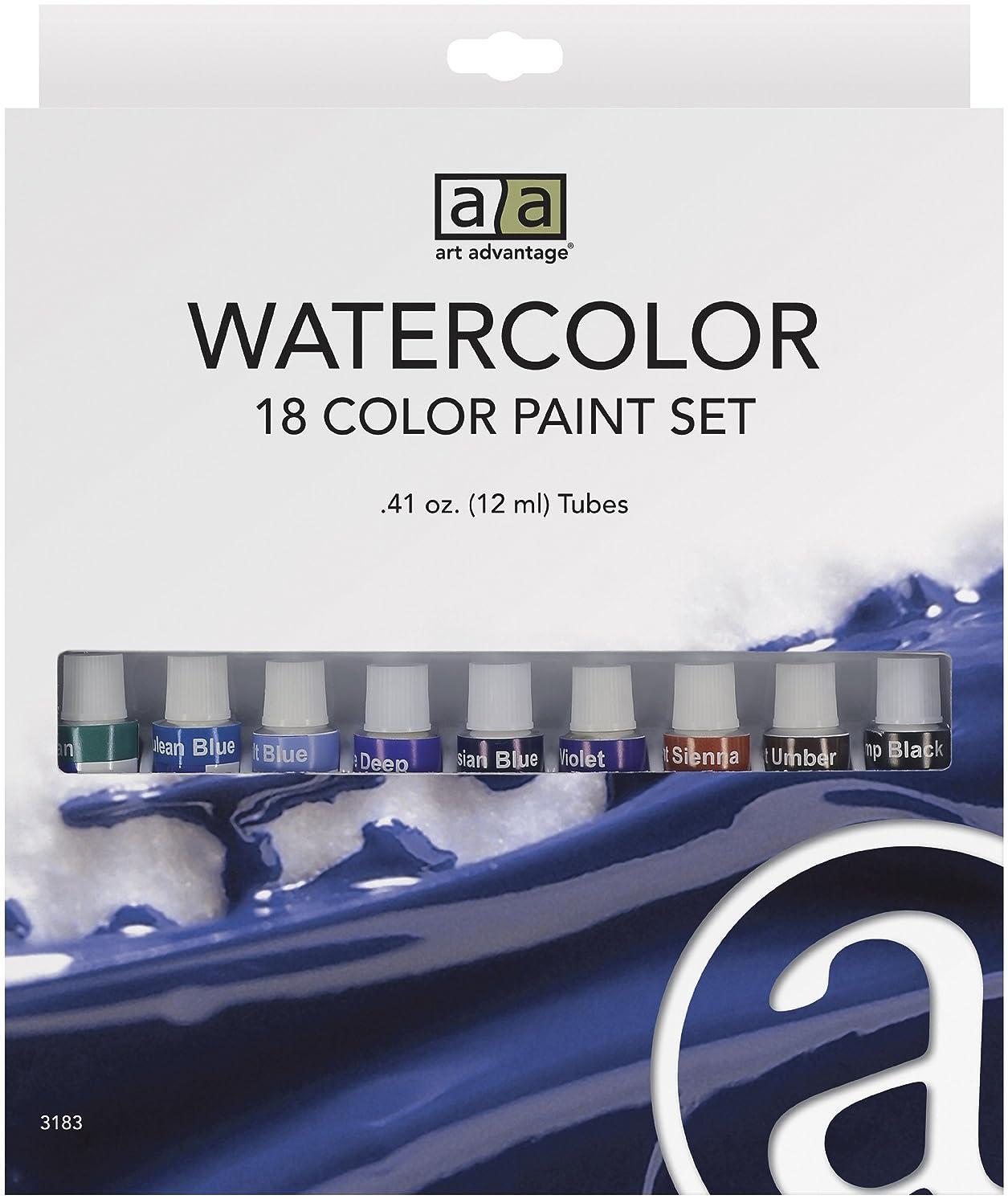 Art Advantage 12-Mililiter Tube Watercolor Paint Set, 18 Color