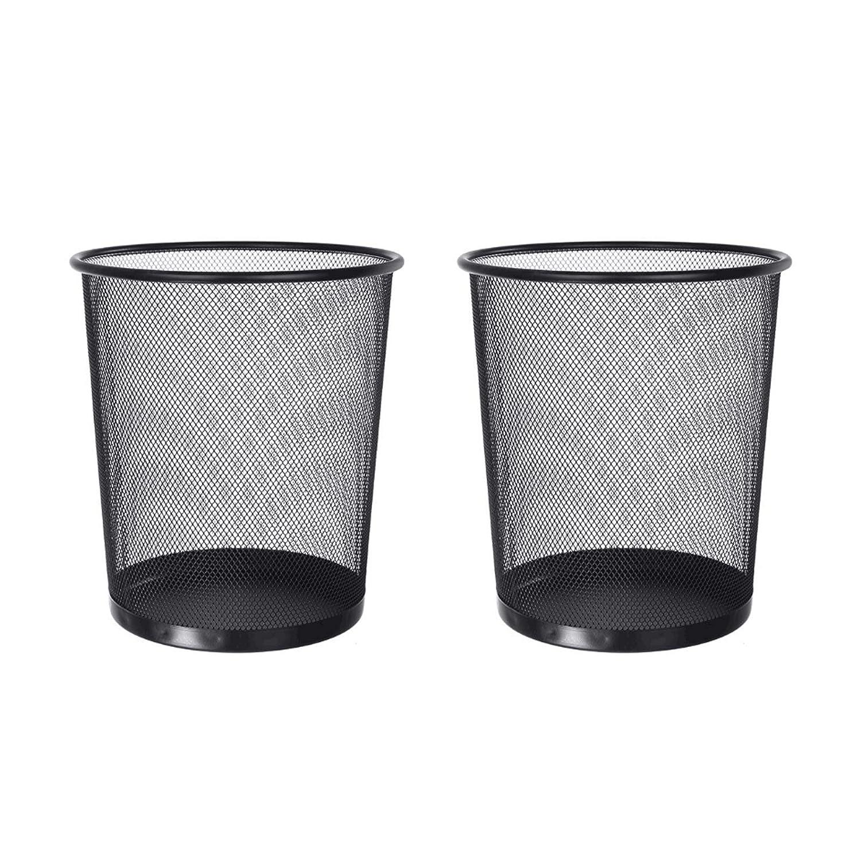 FidgetGear Wire Mesh Dustbin Office Metal Garbage Can Study Room Wastepaper Basket Pure Color Black