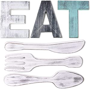 Pokpek EAT Sign + Knife Fork and Spoon Kitchen Wall Decor, Rustic Farmhouse Wooden EAT Letters, Multicolor Wall Hanging Wood EAT Decoration, Decorative Country Wall Art EAT Set for Home Dining Room