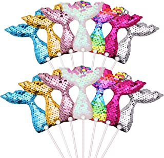 14 Pieces Mermaid Tail Cake Toppers Set Reversible Sequin Cupcake Topper Novelty Mermaid Cake Decoration for Baby Shower, Bridal Shower, Wedding and Birthday Party, 7 Colors