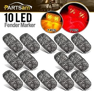Partsam 14x Red/Amber Double Bullseye led Marker Light Side Marker Light Smoke Lens, Tiger Eye/Double Bubble LED Marker Lights, 4