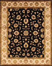 Pasargad Carpets Agra Collection Hand-Knotted Silk & Wool Area Rug, 8' x 10', Black/Ivory