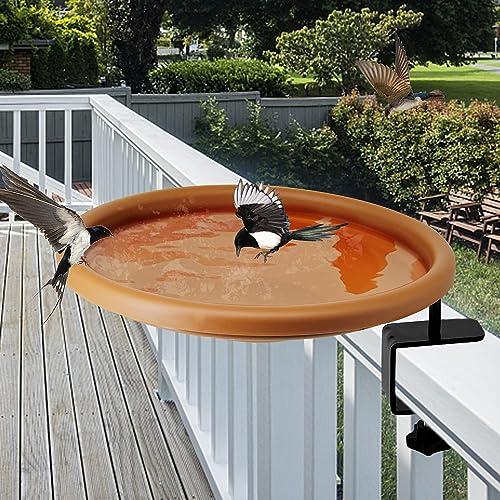 discount yosager Bird Bath sale Deck Bowl Spa Mount Bird Bath Unheated with Lightweight Detachable, Adjustable Heavy Duty Sturdy high quality Steel, Great for Attracting Birds online