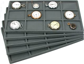 FindingKing 60 Slot Jewelry Coin Gray Showcase Display Tray Insert