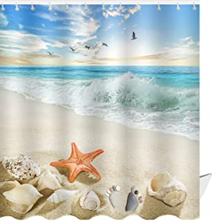 ABxinyoule Starfish Beach Theme Shower Curtain Seashell Conch Shell Fabric Blue