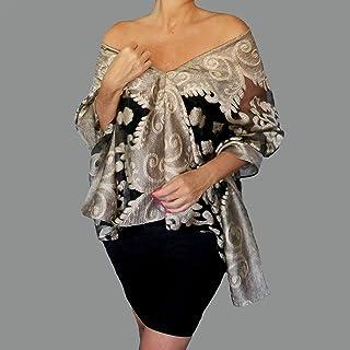 a8168ffe813c1 Tan Gold Evening Wrap Sheer Organza Black Shawl Women s Evening Wear By  ZiiCi
