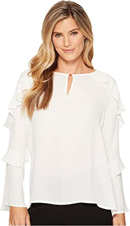 Ivanka Trump - Georgette Long Sleeve Ruffle Blouse