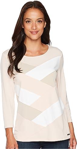 Calvin Klein 3/4 Sleeve Patchwork Top