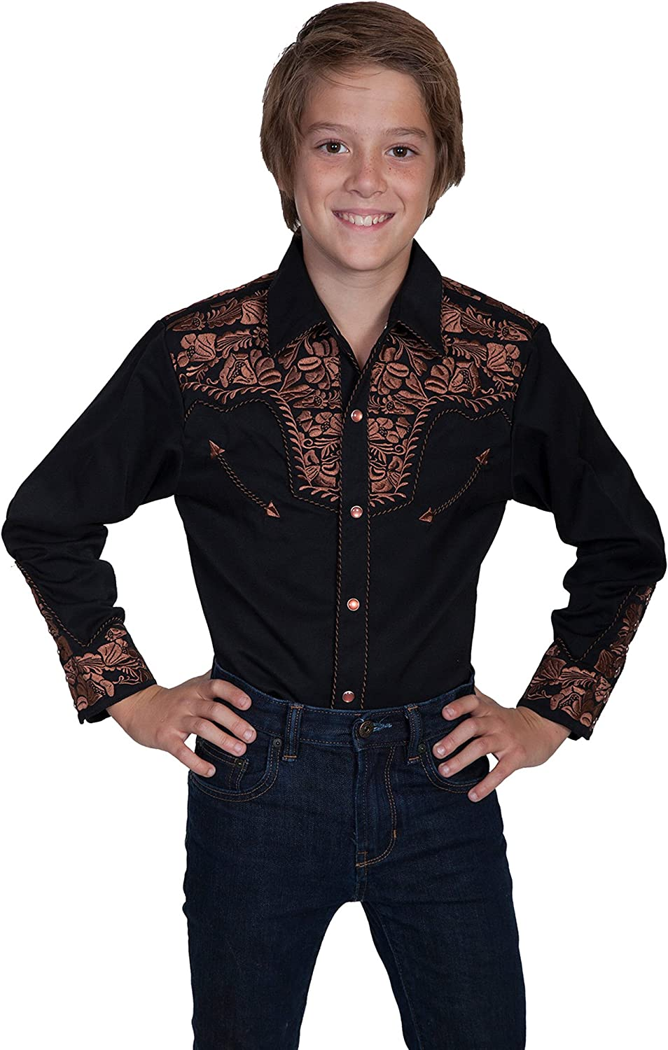Scully Western Shirt Boys Long Sleeve Snap Floral Embroidery F0_P-634K