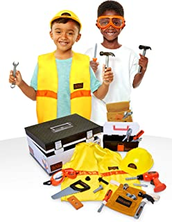 BLACK+DECKER Construction Dress Up Trunk for Kids with Fabric Role Play Costume Accessories, Realistic Toy Tools & Portable Kid-Sized Tool Box – 22Piece Included (Amazon Exclusive)