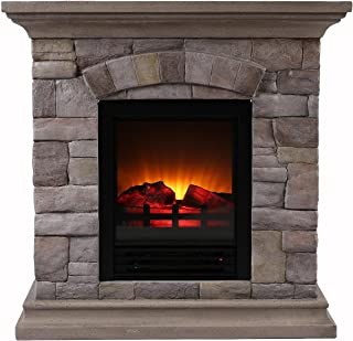 OK Lighting Portable Fireplace with Faux Stone Light, Small