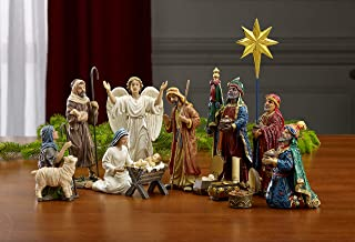 Best Set of 11 Nativity Figurines with Real Gold, Frankincense and Myrrh - 10 inch Scale Review