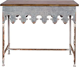 Creative Co-Op Metal Scalloped Edge Table with Wood Top, Distressed Zinc