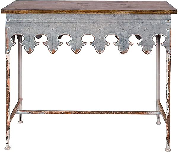 Creative Co Op DA2068 Metal Scalloped Edge Table With Wood Top Distressed Zinc