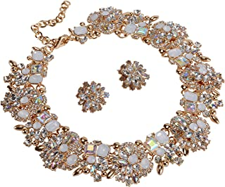 Holylove Statement Necklace and Earrings Set with Rhinestone for Women Costume Prom Party 6 Colors, Big Chunky Jewelry Sets