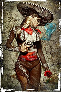 El Mariachi Muerte Amore by Daveed Benito Cool Wall Decor Art Print Poster 24x36