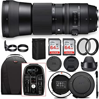 Sigma 150-600mm 5-6.3 Contemporary DG OS HSM Lens for Canon DSLR Cameras with Sigma USB Dock and Two 64GB SD Card Bundle (...