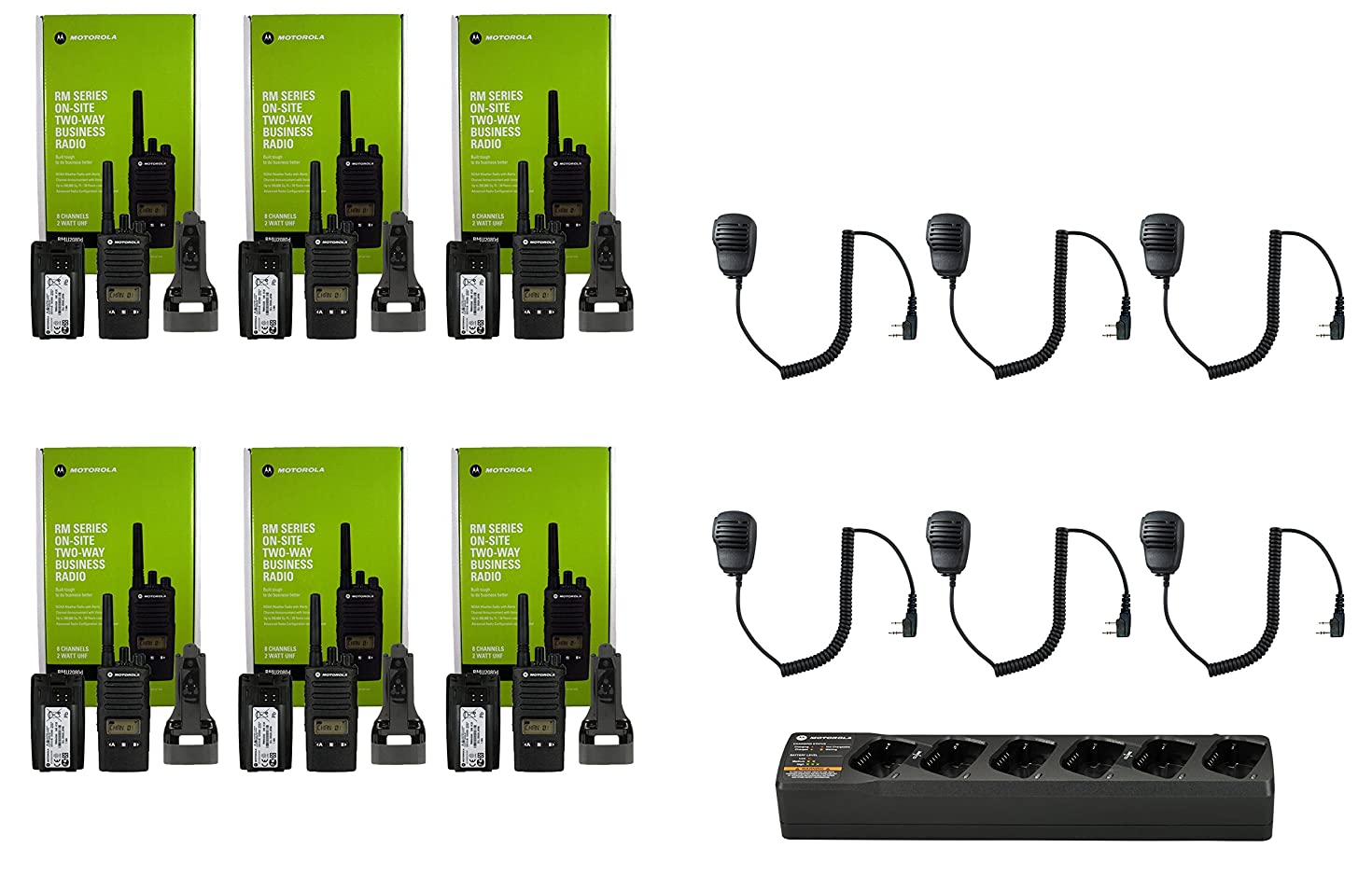 QTY 6 Motorola RMU2080D UHF 2 watt 8 channel radio with display and Speaker Microphone and 1 Multi-Unit Gang Charger PMLN6384 (NO SINGLE CHARGER INCLUDED)