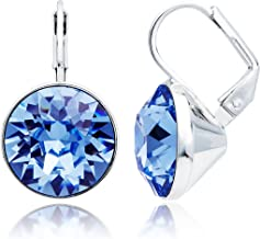 MYJS Bella Drop Earrings Rhodium Plated with Light Sapphire Swarovski Crystals Exclusive Limited Edition
