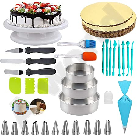 A-ONE Cake Making Supplies Cake Turntable, Cake Mould, Nozzle Set & Spatula, Brush and Pallet Knife & Scraper for Cake Board 5 Piece, 8pc Fondant Tools