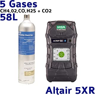 MSA ALTAIR 5X Gas Detector with Color Display, and, MSA 10103262 Calibration Gas Bottle, CH4, O2, CO, H2S + CO2, 58 L