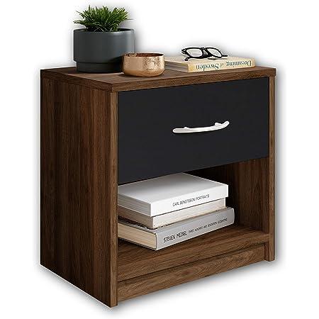 Stella Trading PEPE aspect noyer Columbia, noir-Table de chevet simple avec un tiroir pour s'adapter à tous les lits et chambres, Bois, 39 x 41 x 28 cm