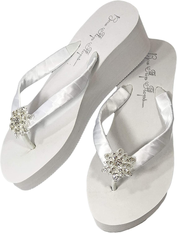 Vintage 使い勝手の良い Flower Rhinestone Embellishment 品質保証 Flip 2 with White Flops