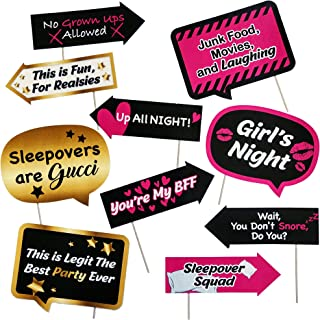Up All Night Slumber Party Photo Booth Props - Sleepover Party Decorations