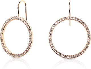 Kate Spade New York Rose Gold Plated Hoop Earrings With Clear Studs